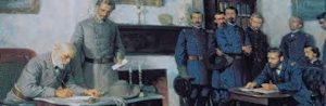 Lee-surrenders-to-Grant-Appomattox-House