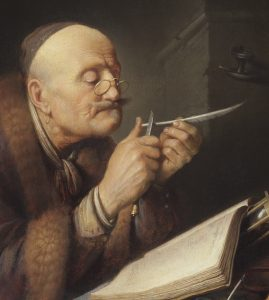 Gerrit_Dou_-_writer_sharpening_a_quill_pen